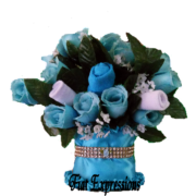 Tiffany Blue Baby Bouquet Baby Shower Floral Centerpiece & Gift with Gold Bling