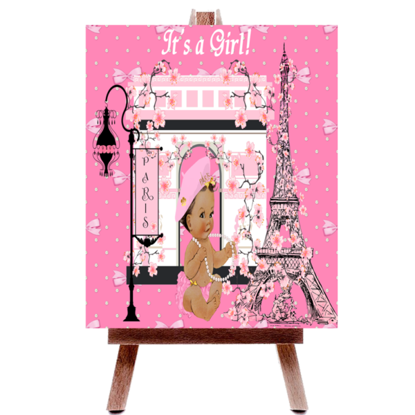 Pink Eiffel Tower Paris Baby Shower Poster Board Fiat Expressions