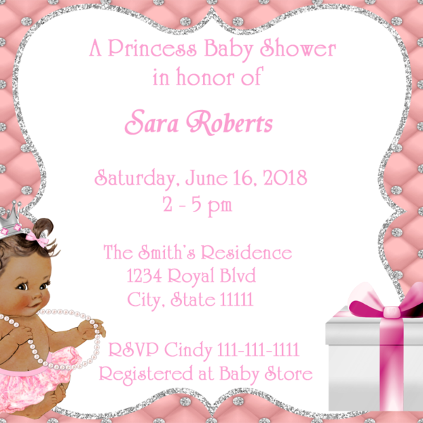 Pink silver princess baby shower invitation fiat expressions pink silver princess baby shower invitation filmwisefo