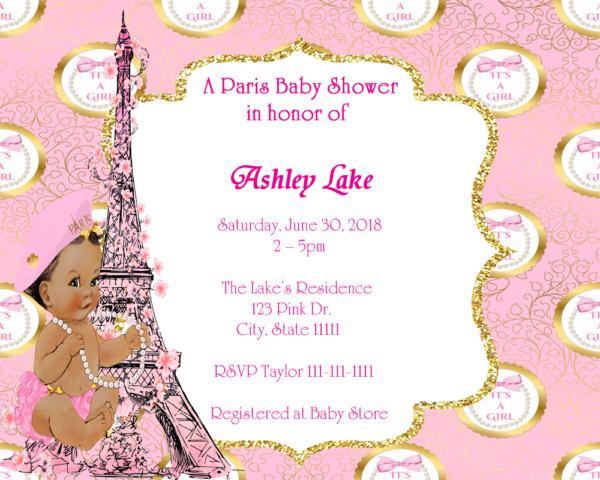 Its a girl pink gold paris baby shower invitation fiat expressions its a girl pink gold paris baby shower invitation filmwisefo