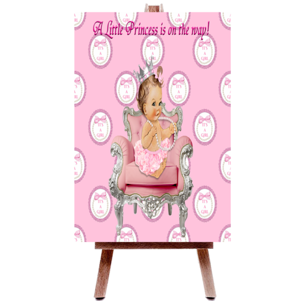 Itu0027s A Girl Pink U0026 Silver Princess Baby Shower Poster