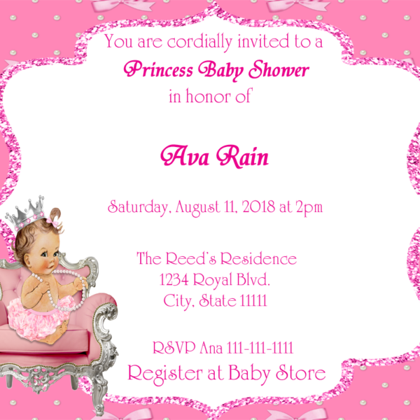 Bows pink silver princess baby shower invitation fiat expressions bows pink silver princess baby shower invitation filmwisefo