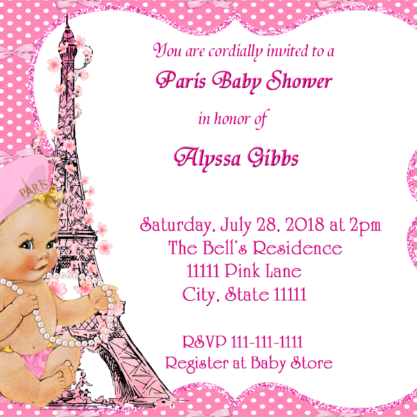 Pink Bow Paris Baby Shower Invitation Fiat Expressions