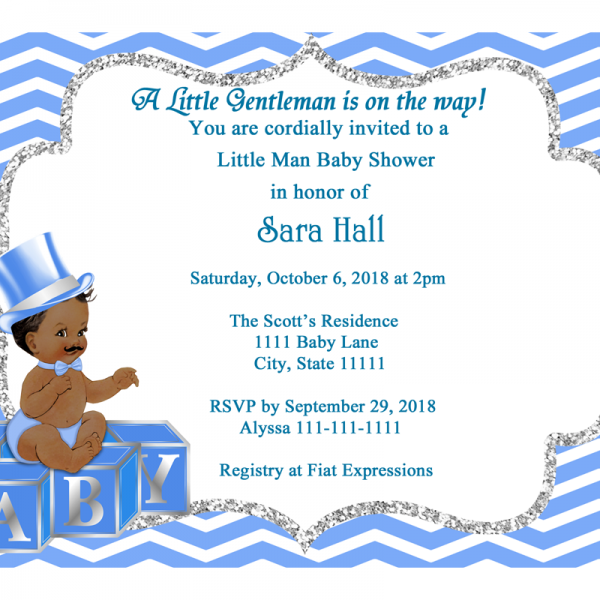 Blue chevron little man baby shower invitation fiat expressions blue chevron little man baby shower invitation filmwisefo